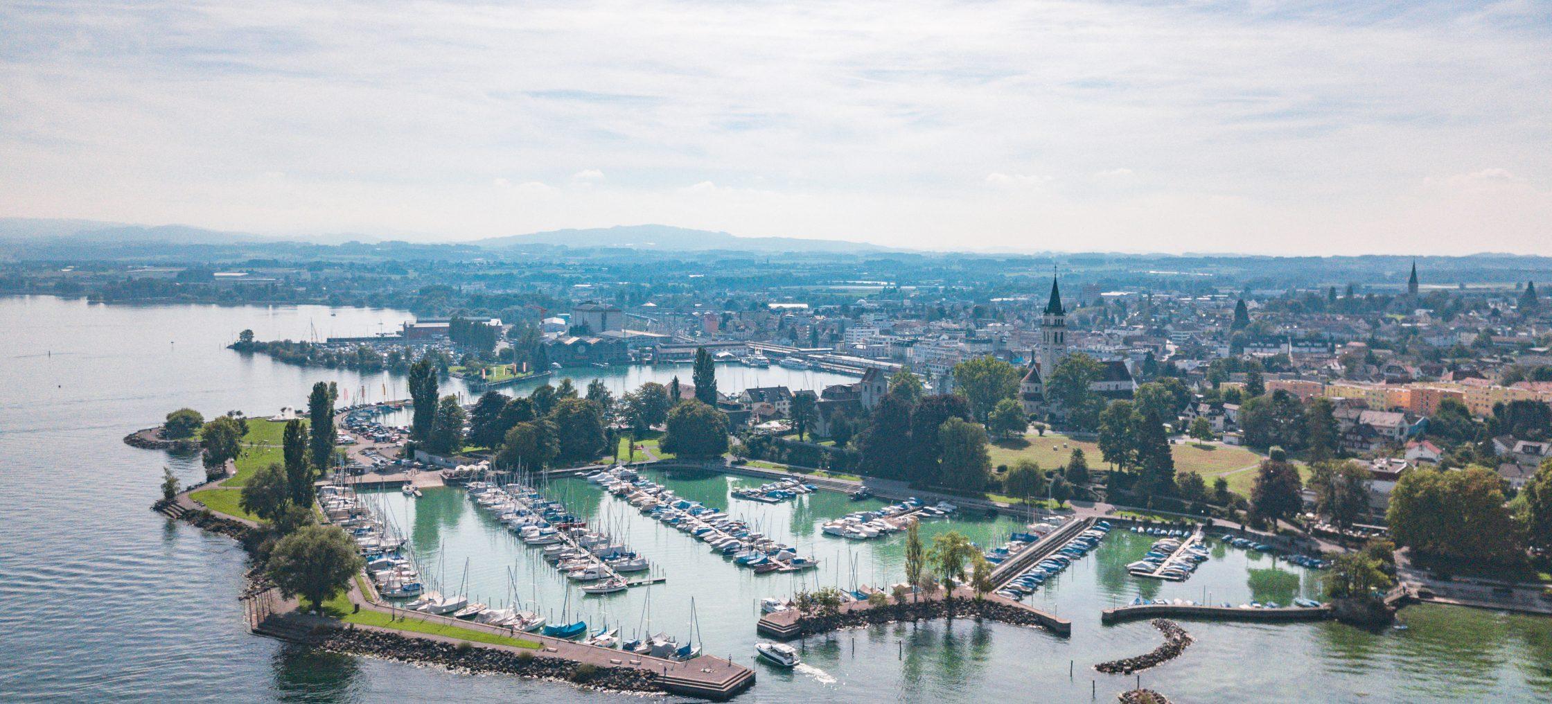 Bodensee Romanshorn, Drohnenansicht vom Hafen