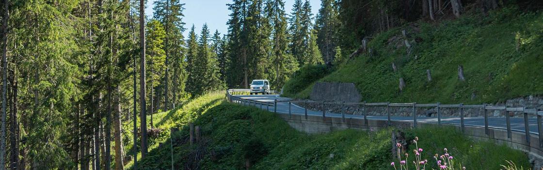 van auf Bergstrasse nach arosa schweiz