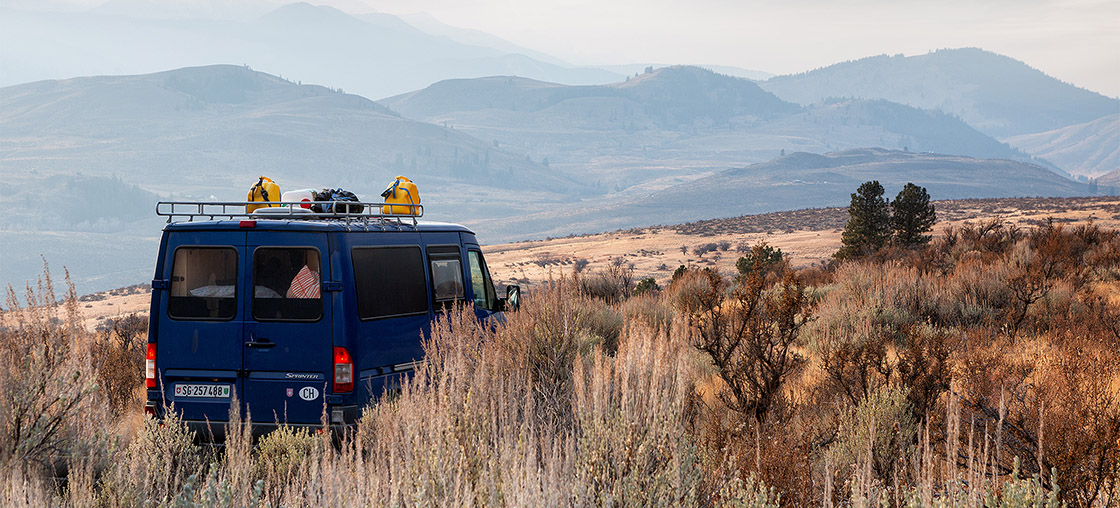 whale on trail van life bus steppe