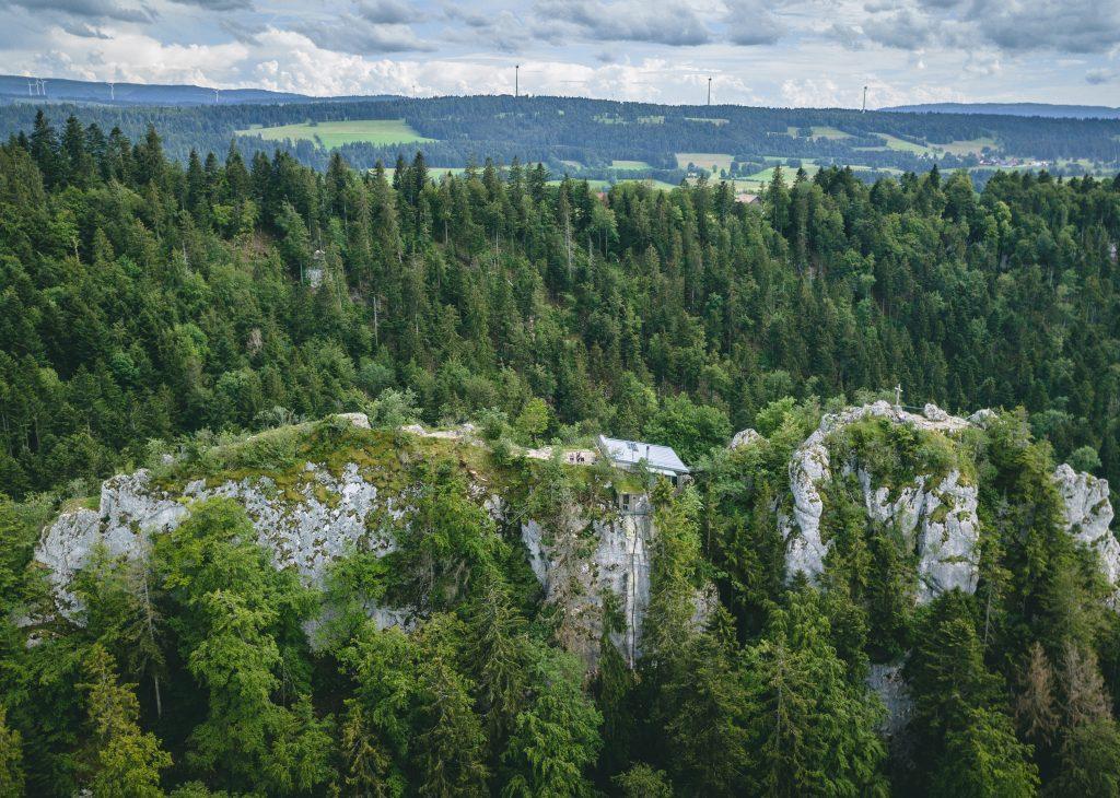 Aussicht auf Les Sommêtres Park Doubs - viele Tannen und Felsen - Wandern Jura