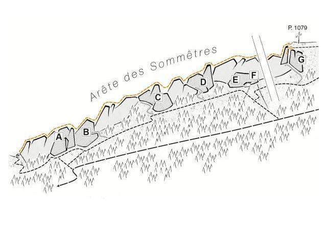 Zeichnung der Kletterwand mit Beschriftung A-G - Ferien im Jura
