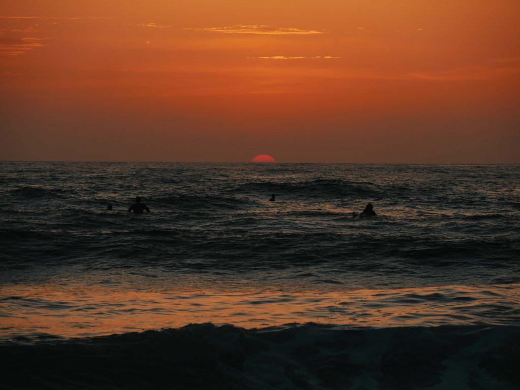 Camping Südfrankreich, Sonnenuntergang Contis Strand