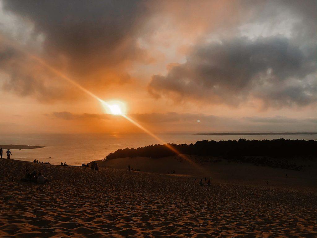 Camping Südfrankreich, Sonnernuntergang, Dune du Pilat